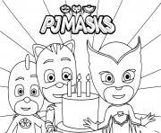 PJ Masks joyeux anniversaire les amis dessin à colorier