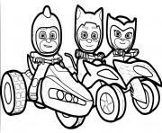 pyjamasques en moto 4x4 dessin à colorier