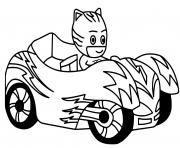 pyjamasques catboy voiture de course dessin à colorier