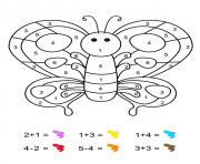 magique CE1 un papillon multicolore dessin à colorier