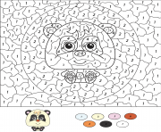 Coloriage magique CE2 cartoon panda