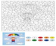magique CE2 garcon descends on a parachute dessin à colorier