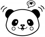 panda kawaii dessin à colorier