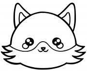 renard kawaii dessin à colorier