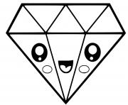 diamant dessin kawaii dessin à colorier