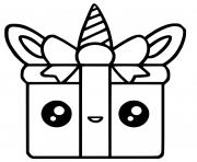 licorne cadeau kawaii dessin à colorier