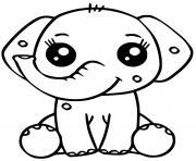 elephant dessin kawaii dessin à colorier