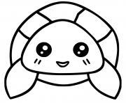 tortue kawaii dessin à colorier