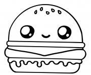 hamburger kawaii dessin à colorier