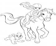 Coloriage lego friends mia cheval 2