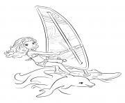 lego friends dauphin et planche sur la mer dessin à colorier