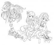 lego friends plage et soleil ete dessin à colorier