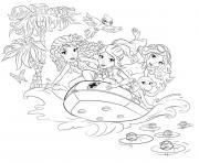 lego friends bateau et plage entre filles dessin à colorier