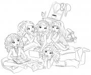 lego friends soiree entre filles dessin à colorier