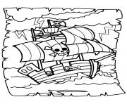 pirate bateau a travers les vagues intenses dessin à colorier