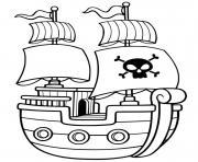 bateau pirate simple maternelle dessin à colorier