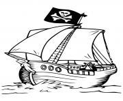 pirate bateau simple dessin à colorier