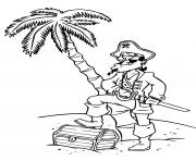 pirate garcon pas content sur une ile dessin à colorier