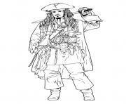 pirate des caraibes capitaine Jack Sparrow dessin à colorier