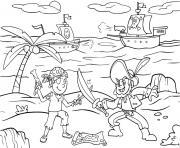 bataille entre pirates sur une ile dessin à colorier