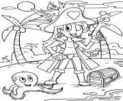 pirate fille dessin à colorier