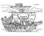 bateau de pirate avec drapeau tete de mort dessin à colorier