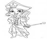 pirate fille avec un epee dessin à colorier