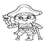 pirate garcon enfant avec un grand sourire dessin à colorier