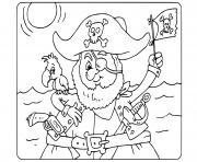pirate maternelle facile perroquet dessin à colorier