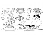 objets de la vie de pirate dessin à colorier