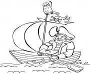 un pirate seul sur son petit bateau et son tresor dessin à colorier
