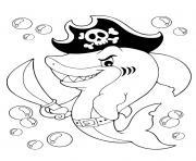 requin pirate de la mer animaux dessin à colorier