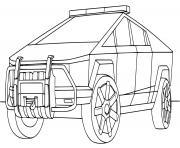 Police Tesla Cybertruck dessin à colorier
