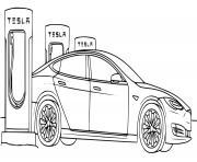 stations service electriques modernes de Tesla dessin à colorier