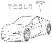 Roadster 2 Tesla dessin à colorier