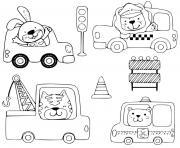 animaux conduisant vehicules taxi moto ambulance construction dessin à colorier