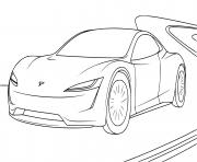 voiture Tesla Roadster dessin à colorier