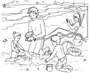 plage avec la famille et les enfants dessin à colorier