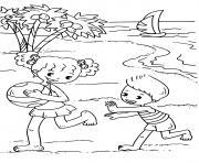 fille et garcon plaisir a la plage dessin à colorier