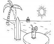 ile paradisaique plage dessin à colorier