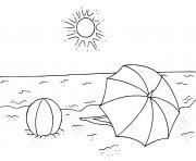 soleil chaud plage fraiche dessin à colorier