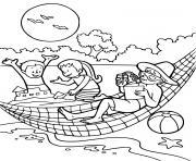enfants en vacances pres de la plage dessin à colorier