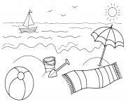 la mer sous un soleil chaud et bateau dessin à colorier