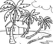 maison au bord de la mer plage dessin à colorier
