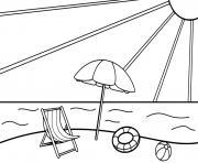 plage soleil vacance dessin à colorier