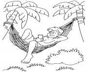 papa se repose sur un hamac et palmiers dessin à colorier