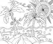 plage paysage exotique mandala adulte dessin à colorier