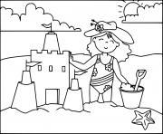 une fille construit un chateau de sable a la plage dessin à colorier