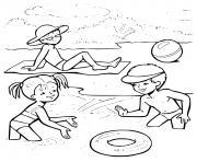 enfants jouent a la plage dessin à colorier