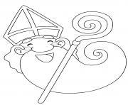 Coloriage le saint nicolas heureux pour noel dessin